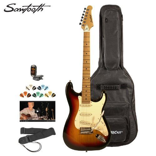 Sawtooth St-Es-Sbvc-Kit-2 Sunburst Electric Guitar With Vintage White Pickguard - Includes Accessories, Gig Bag And Online Lesson