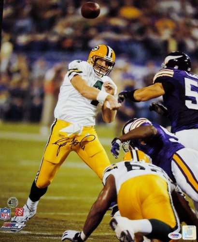 Brett Favre Autographed / Hand Signed Green Bay Packers 16x20 RECORD BREAKING Photo - with PSA/DNA Authenticity got7 got 7 youngjae jackson autographed signed photo flight log arrival 6 inches new korean freeshipping 03 2017