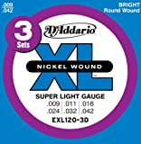 D'Addario ダダリオ エレキギター弦 ニッケル EXL120-3D 3パック SuperLight