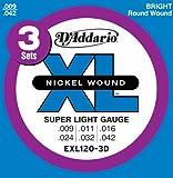 D'Addario ダダリオ エレキギター弦 ニッケル EXL120-3D 3パック SuperLight