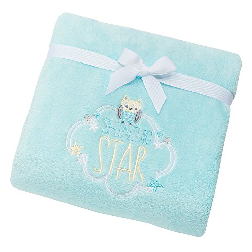 "Just Born Owl ""Shining Star"" Fleece Baby Blanket, Mint, 30"" X 40"""