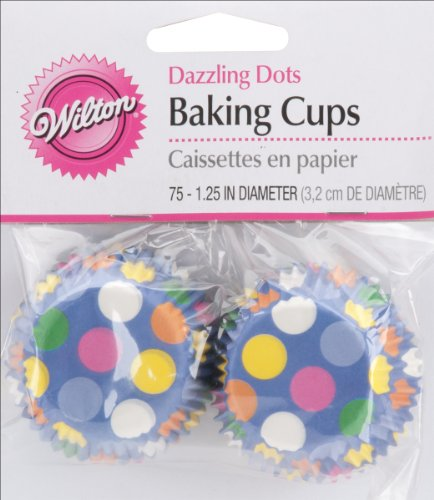 Wilton Baking Cups, Mini, Dazzling Dots, 75-Pack