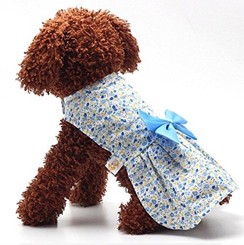 Lovely Dog Pet Floral Big Bowknot Dress Puppy Cat Princess Clothes Apparel (XS, Blue) (Daisy Duke Fancy Dress)