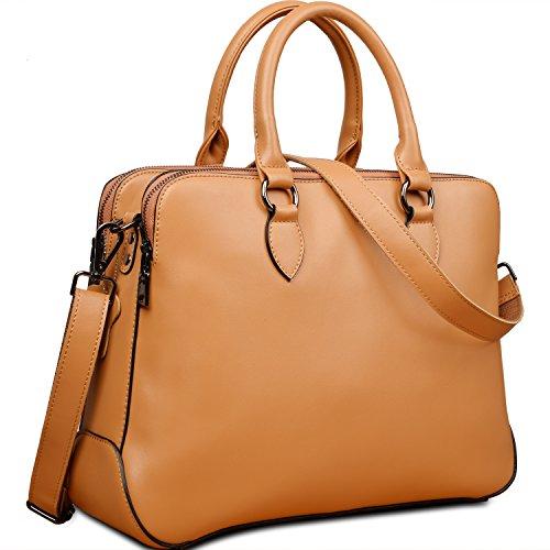 "Yaluxe Women's Leather Briefcase 13"" Laptop Handbags (Apricot)"