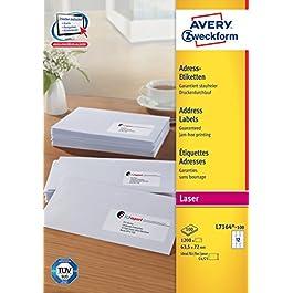 Avery zweckform l 7164-100, d'étiquettes 63,5 x 72 mm, 100 feuilles/1200 étiquettes blanc