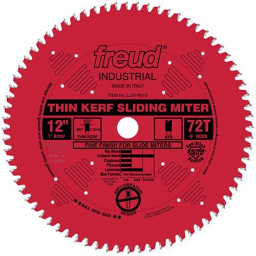 Freud LU91R012 12-Inch 72 Tooth ATB Thin Kerf Sliding Miter Saw Blade with 1-Inch Arbor and PermaShield Coating