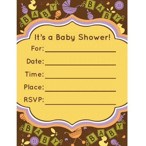 Bella Cupcake Couture 10-Pack Baby Blocks Invitations, 5 By 7-Inch front-49418