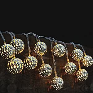 Modern Home Solar LED String Lights Moroccan Metal Globe Lante