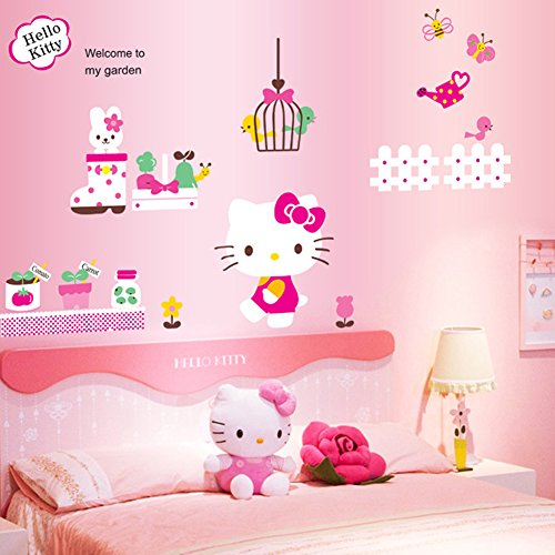 Wall Decals Stickers Paper Removable Home Living Dinning Room Bedroom Kitchen Decoration Art Murals Diy Stick Girls Boys Kids Nursery Baby Room Playroom Decorating (Hello Kitty)