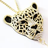Fashionwu Gold Plated Ladies' Hollow Out Leopard Head Tassels Rhinestone Pendant Necklace