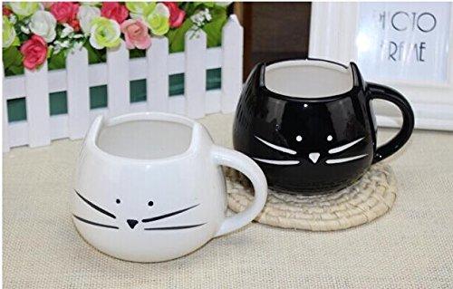 2 Pz Deliziosa tazza di Ceramica a forma di grazioso Gatto nero per Caffè e Latte Tazza regalo perfetta per Natale e Compleanno Tazza di Ceramica 300ml.(cat)