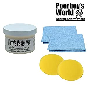 Poorboys Nattys Paste Wax Carnauba White Natty's 8oz + 2 Free Cloths & Pads