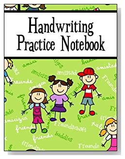 Handwriting Practice Notebook For Children - Friendship in many languages is the goal for the children on the cover of this handwriting practice notebook for younger kids.