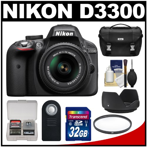 Nikon D3300 Digital SLR Camera & 18-55mm G VR DX II AF-S Zoom Lens (Black) with 32GB Card + Case + Filter + Hood + Remote + Kit