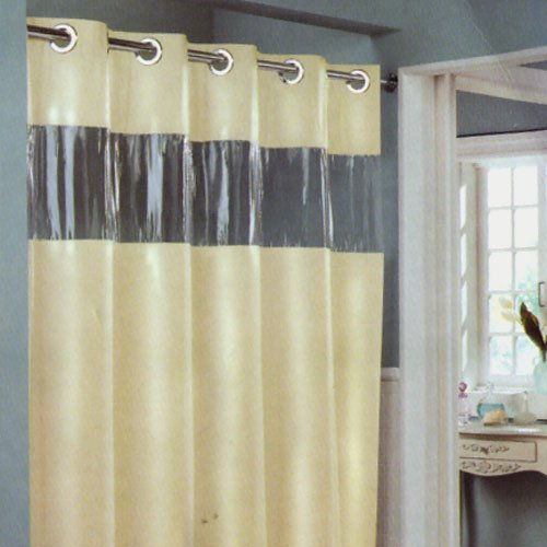 hookless beige vision vinyl shower curtain with clear