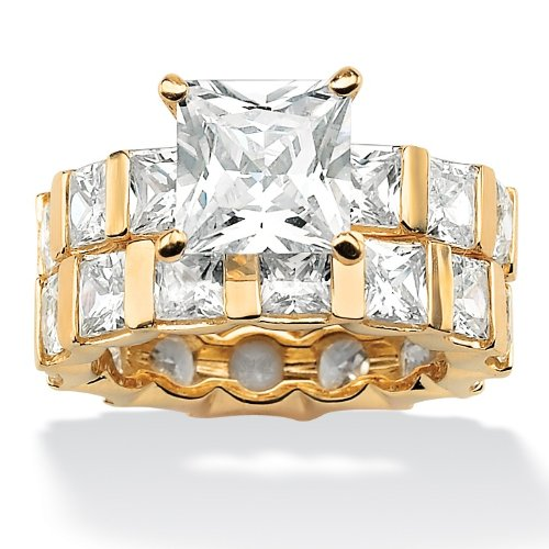 18K Gold over Sterling Silver Princess-Cut DiamonUltraTM Cubic Zirconia Eternity Wedding Band Ring Set