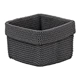 Design Imports Hand Crochet Storage Baskets for Closets, Drawers, Kitchens, Bathrooms, Household Organization and More, Small, Grey