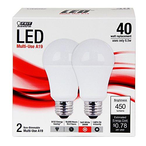 Feit A450/830/Led/2 A19 General Purpose 40-Watt Led Light, Soft White, 2-Pack