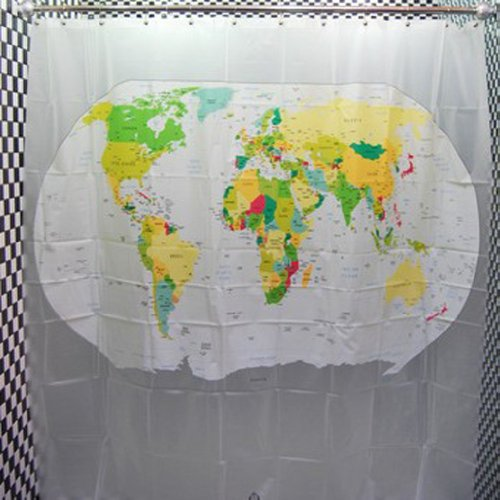 World map waterproof shower curtain 180180cm shower curtains id 2588 gumiabroncs Choice Image