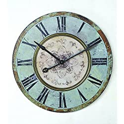 Creative Co-op Turn of The Century Style Round Wooden Wall Clock