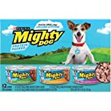 Mighty Dog Variety Pack. Savory Steak Flavor, Rotisserie Chicken Flavor, and Chicken, Egg and Bacon Country Platter. 12 - 5.5 oz cans (Teal Box)