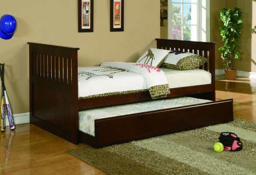 Fresh Twin Bed w Twin Trundle Bed Cherry walnut Color