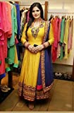 High Street Fashion Womens Cotton Semi Stitched Anarkali Suit (HSFS-330_Yellow)