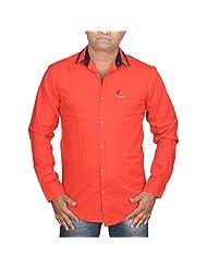 Hunk Men's Red Cotton Shirt - B00TB625GG