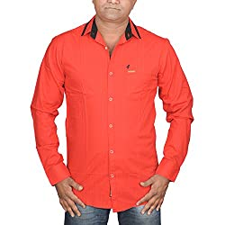 Hunk Men's red Cotton Shirt