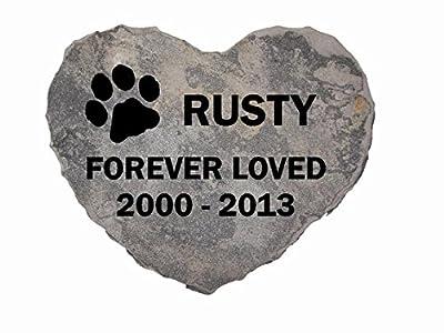 Pet Memorial Headstone Grave Marker Sandblast Engraved Gray Natural Stone Heart