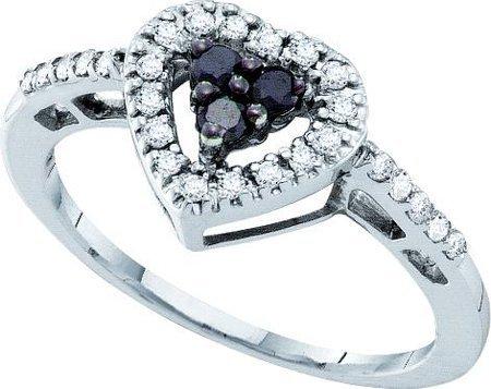 14k. White Gold Black and White Diamond Heart Promise Ring 1/3 Ctw