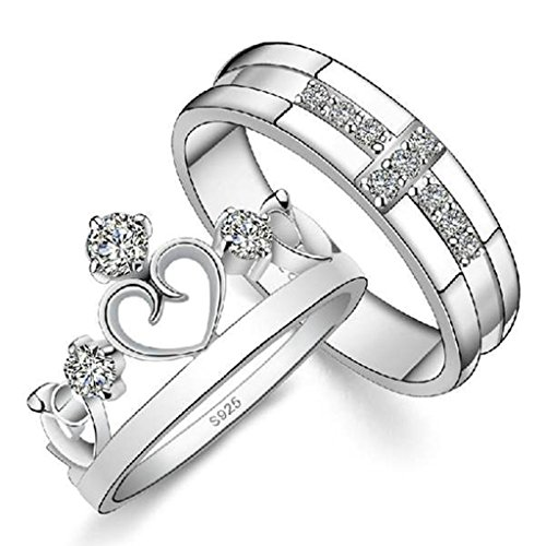 Daesar Silver Plated Wedding Bands Mens Womens Engagent Rings CZ Heart Crown Rings Tiara Size:6.5