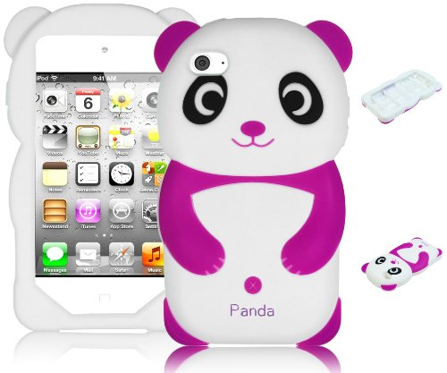 Cute 3D Animal Purple Panda Silicone Case Cover For Apple Ipod Touch 4, 4Th Gen front-460607