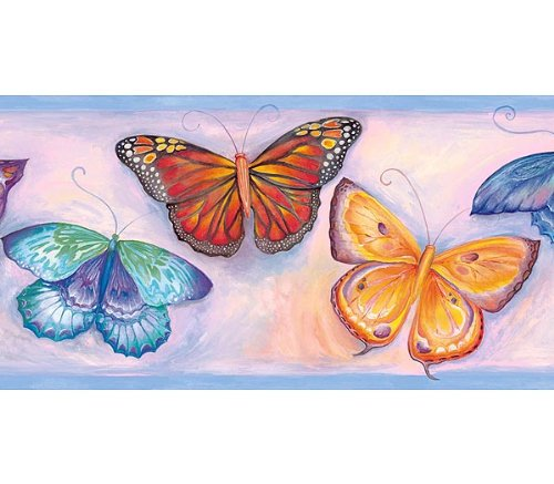 butterfly wallpaper border. Blue Pink Butterfly Wallpaper