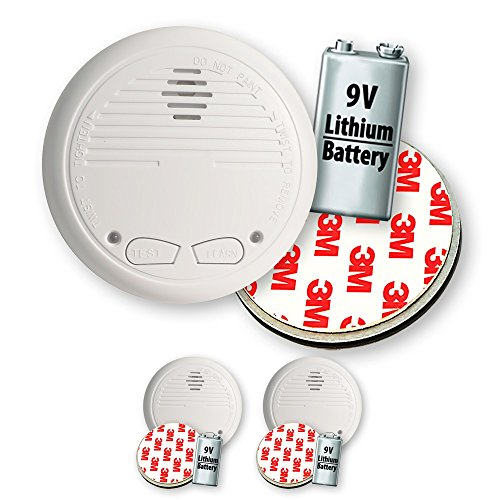 2 Nemaxx WL10 Funkrauchmelder mit 10 Jahre Lithium Batterie Rauchmelder Feuermelder Set Funk koppelbar vernetzt - nach EN 14604 + 2x NX1 Quickfix Magnet