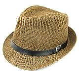 麦わら帽子 ストローハット 中折れ 革ベルト (茶)