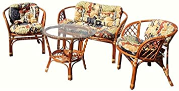 Set 1 Lounge Loveseat Sofa with Cushions + 2 Chairs with Cushions + 1 Round Coffee Table with Glass ECO Natural Handmade Rattan Wicker Color Cognac
