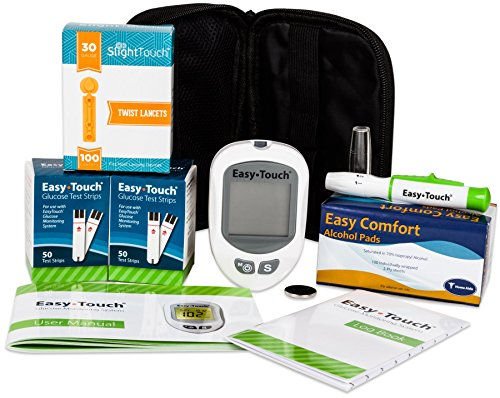 Easy Touch Diabetes Testing Kit – Easy Touch Meter, 100 Easy Touch Blood Glucose Test Strips, 100 Slight Touch Lancets 30g, Lancing Device and 100 Slight Touch Alcohol Pads