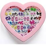NEW SET 36 PAIRS KIDS STUD CRYSTAL EARRINGS KITTY FLOWER CAT GIRL CHILDREN GIFT PINK HEART BOX UK SELLER