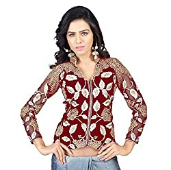 Drapme High Neck Red Velvet Embroidery Unstitched Blouse