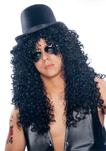 Deluxe Black Curly Rocker Wig - Adult Std.