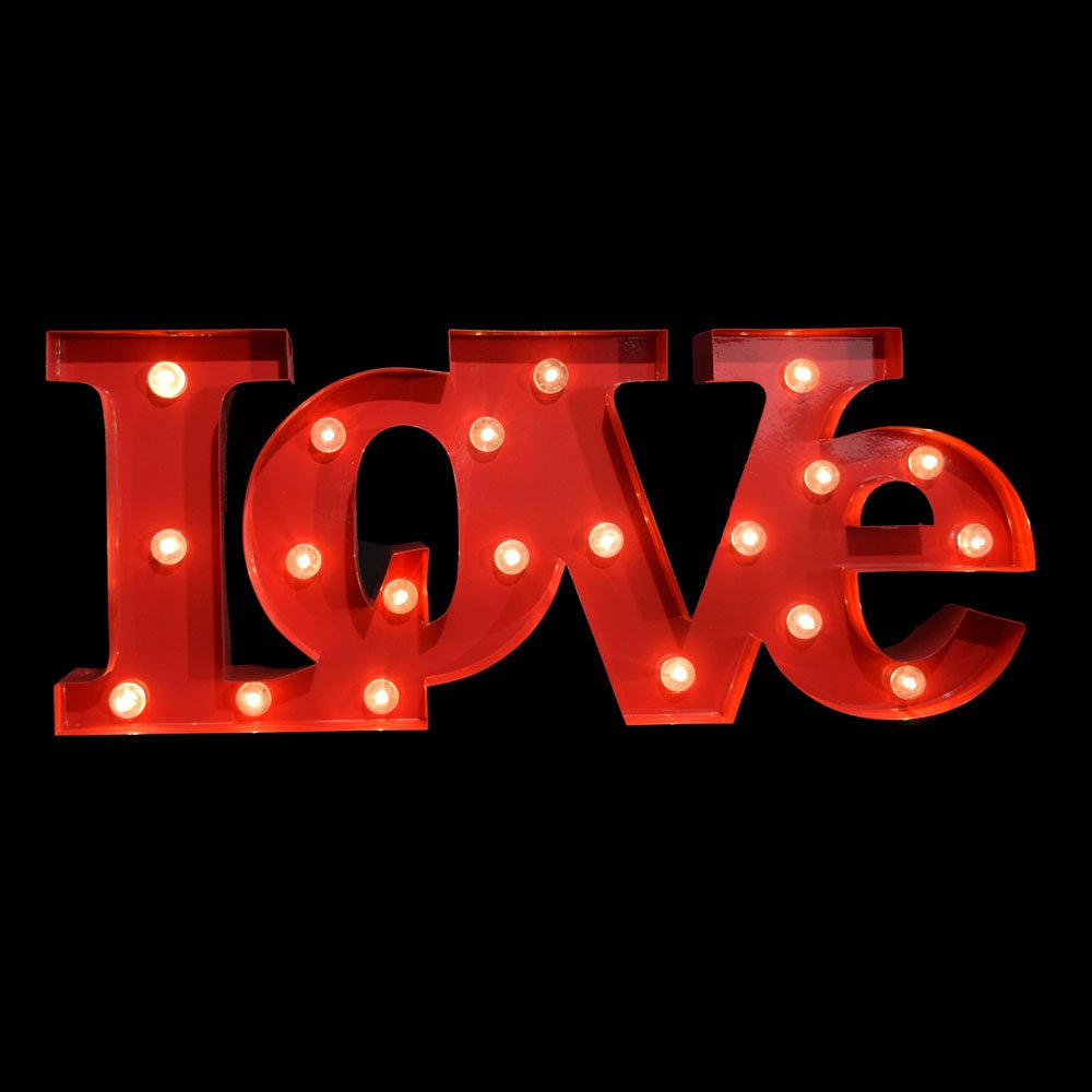 Fantado Marquee Light Red 'LOVE' Word LED Metal Sign (Battery Operated) by PaperLanternStore 1