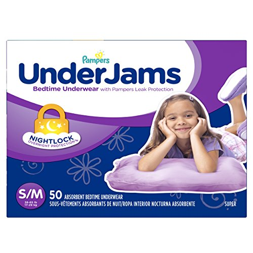 Pampers Underjams Bedtime Underwear Girls, Small/Medium Diapers, 50 Count - 1