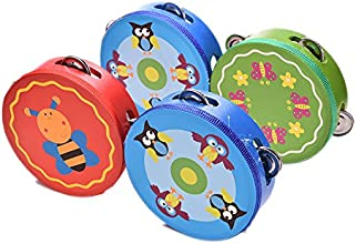 Buytra Wooden Musical Tambourine Drum Rattles Toy Kids Educational TOY