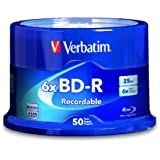 Verbatim BD-R 25 GB 6X with Branded Surface, Disc 50-disc Spindle 98397