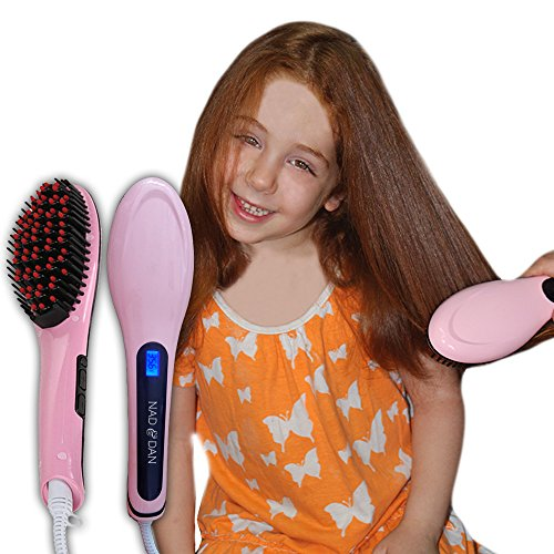 Professional Ceramic Hair Straightener Brush by NAD&DAN with Lock Buttons Option. Fast Detangling Electric Comb, Digital Display, Massage Straightening Anti Static Anti Scald. (Pink) Free Bonus (Hair Brushes Cheap compare prices)