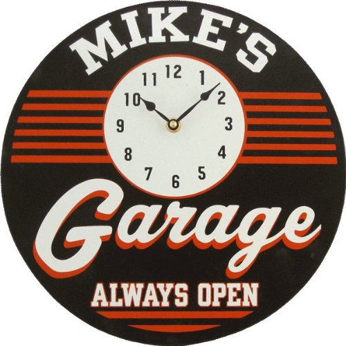 Personalized Garage Clock Custom Wooden Novelty Sign