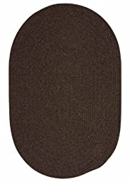 Solid Braided Wool Area Rug 2ft. x 3ft. Oval Dark Brown Simple Soft Carpet
