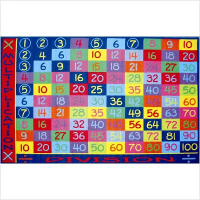 "Fun Time Multiplication Classroom Rug Size: 5'3"" x 7'6"""