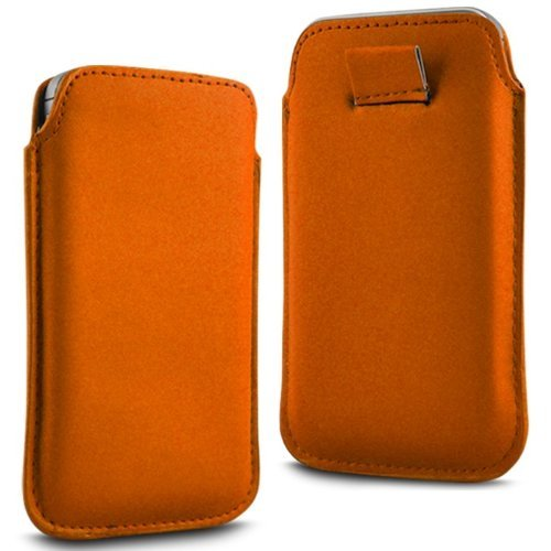 N4U Accesoories Twin Value Pack - 2 X Orange Superior Pu Soft Leather Pull Flip Tab Case Cover Pouch For Sony Ericsson Xperia Play front-156986